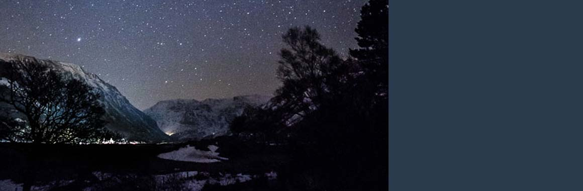 Nant Ffrancon valley stars - and Dru Yoga and Meditation training centre