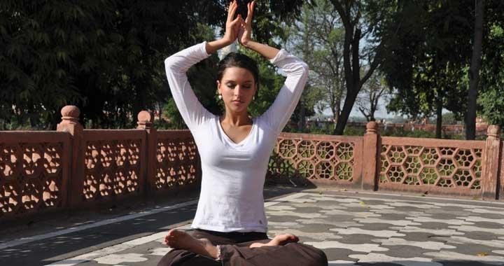 Radha meditating in nature