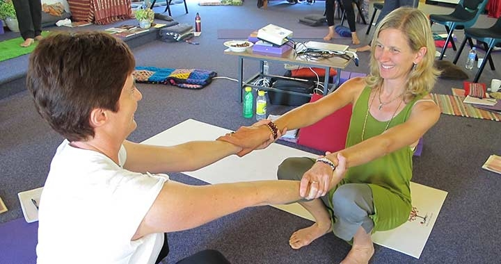 Dru Kids and Teens yoga course teacher Suzanna Thell with student